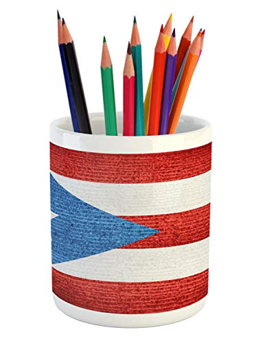 Lunarable Puerto Rico Pencil Pen Holder, Stripe Style Rows Pattern Grunge Arrangement with Patriot Flag, Printed Ceramic Pencil Pen Holder for Desk Office Accessory, Blue Vermilion and White