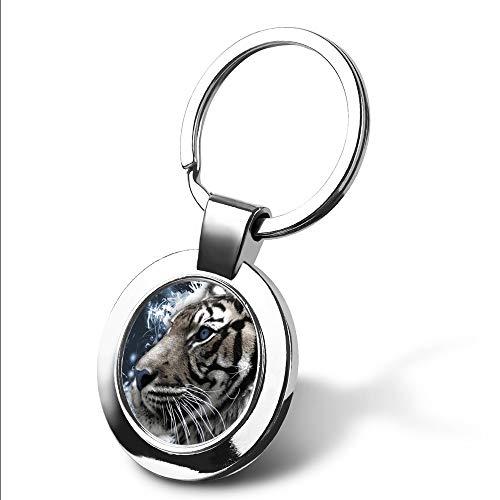 Silver Photo Key Tag - Personalized Photo Custom Siberian Tiger Text Tag Name Keychain Key Tags Keyring Engraved Message(Custom Photo-Silver)