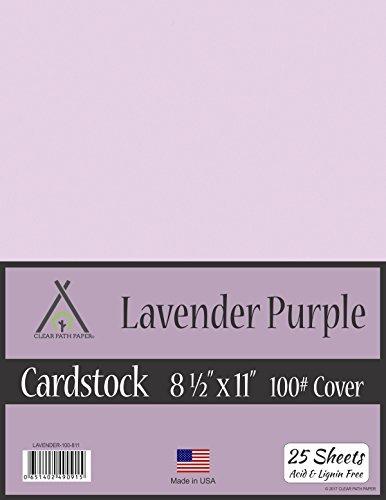 Cartulina morada de lavanda – 21,6 x 28 cm – 100 lb cubierta, Púrpura lavanda, 8.5 x 11 Inch - 25 Sheets, 1, 25.00