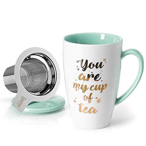 Sweese 205.109 Porcelain Tea Mug with Infuser and Lid - You Are My Cup of Tea, 15 OZ, Mint Green