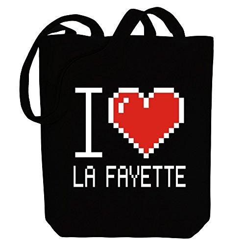 Idakoos - I love La Fayette pixelated - US Cities - Canvas Tote - Shopping Fayette La