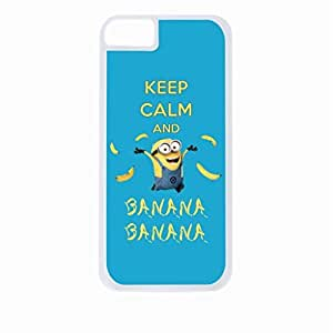Keep Calm and Banana Banana- Hard White Plastic Snap - On Case-Apple Iphone 5 - 5s - Great Quality!
