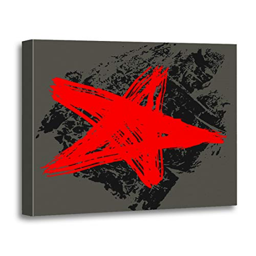 Tinmun Painting Canvas Artwork Wooden Frame Abstract The Star is Drawn Brush and Ink 16x20 inches Decorative Home Wall Art]()