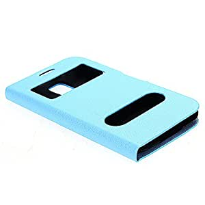 PU Leather Flip Case Skin Cover Pouch View Window for Samsung Galaxy S5 Blue