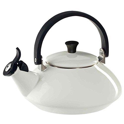 Le Creuset Q9213-16 Enamel-on-Steel Zen 1-2/3-Quart Teakettle, White, 1.6 Quart,