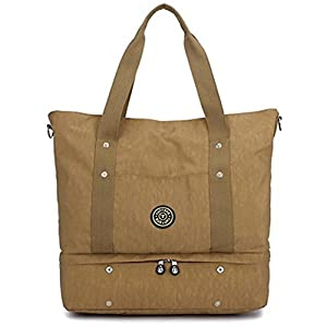 Tomorrow Land JP Unisex Weekender Overnight Travel Gym Tote Lightweight Waterproof Bottom Compartment shoulder Carry-on Bag with Zip and Luggage Sleeve (Khaki)