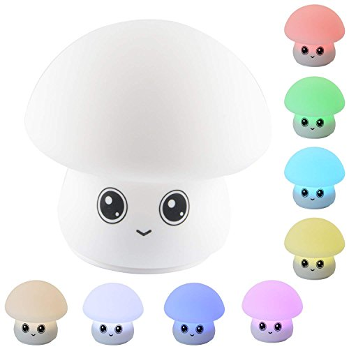 Baby Night Light, Cute Nursery Lamp Rechargeable LED Soft Silicone Toddler Mushroom Nightlight 7-colors Breathing Lights Portable Night Lamp Gifts for Baby Kids Girls Boys (Color 2)