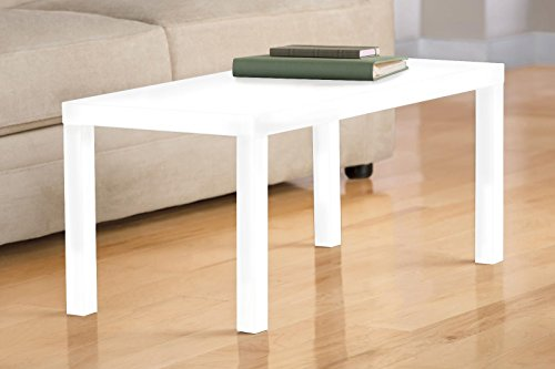 DHP Parsons Modern Coffee Table, White (White Living Room Table)
