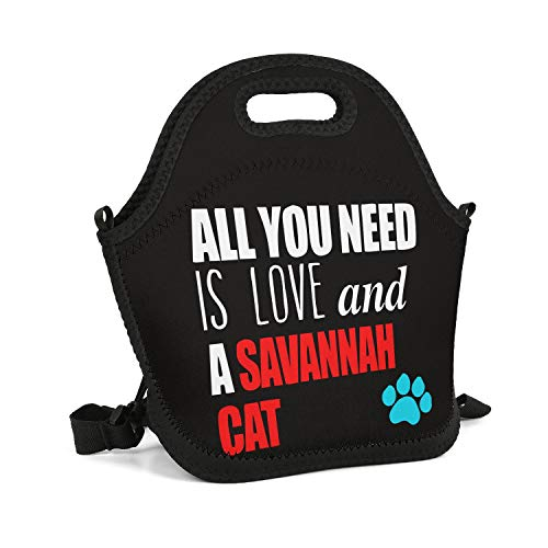 SHIWERJHC All You Need is Love and A Savannah Cat Neoprene Lunch Tote Fashion Insulated Thermal Reusable Lunch Bag Box for Women Men Child School Work Outside Picnic