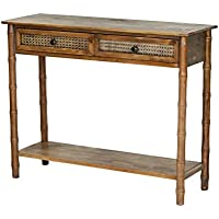 Heather Ann Creations Wallace Collection Living Room Bamboo Style 2 Drawer Console, Rustic Farmhouse, Standard