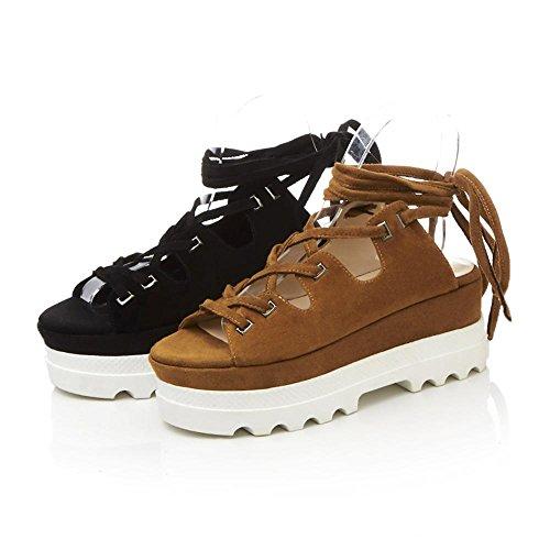 GJDE Sandalias con Ronda de los Zapatos de Plataforma de Verano de la Correa Plana Black