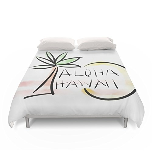 Society6 Palm Tree Sun With Aloha From Hawaii Duvet Covers Queen: 88'' x 88'' by Society6
