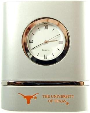 LXG Texas Longhorns Brushed Silver Desk Clock