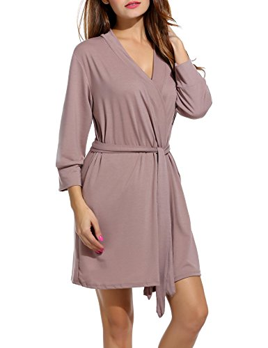 DonKap Women Sleepwear Soft Cotton Bathrobe Lightweight Lounge Robe S-XXL