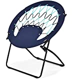 Goplus Bungee Chair Outdoor Camping Gaming Hiking Garden Patio Portable Steel Folding Bunjo Dish Chairs (Dark Blue)