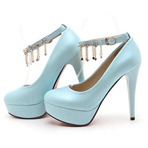 W&LM Sra Tacones altos Piedras de Strass Hebilla de palabra Plataforma a prueba de agua Boca rasa Zapatos individuales Blue