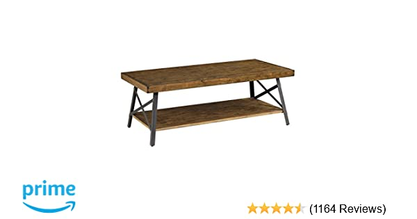 Amazon.com: Emerald Home Chandler Rustic Industrial Solid Wood And Steel Coffee  Table With Open Shelf: Kitchen U0026 Dining
