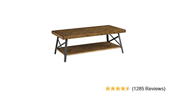 96c36b7562e Amazon.com  Emerald Home Chandler Rustic Industrial Solid Wood and Steel  Coffee Table with Open Shelf  Kitchen   Dining