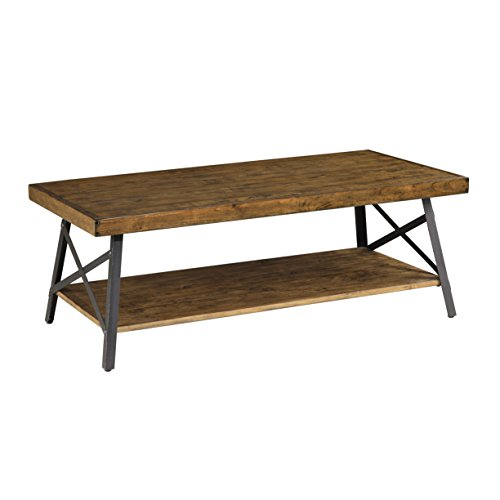 Emerald Home Chandler Rustic Industrial Solid Wood and Steel Coffee Table with Open Shelf (Round Table Extending)