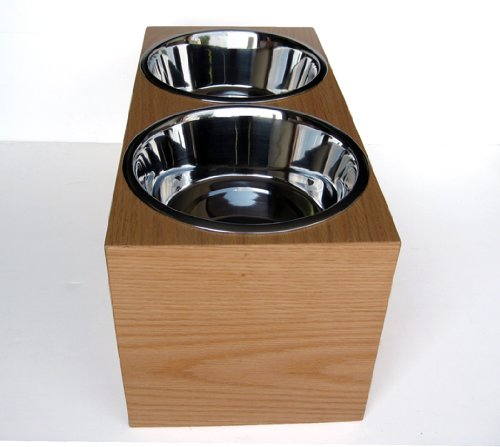 Wooden Double Diner - Raised Feeder - 7'' Tall
