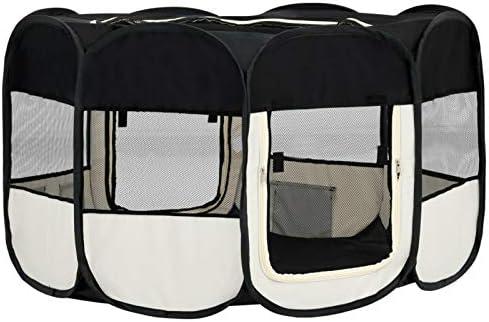 Tidyard Parc Pliable pour Chien avec Sac de Transport, Parc à Chiots Chien Grand Pliable, Enclos Pliable Grand Parc pour Animaux Noir 145x145x61cm