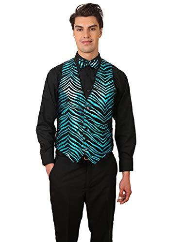 (Men's Black & Turquoise Zebra Print Vest and Bow Tie Set X Large)