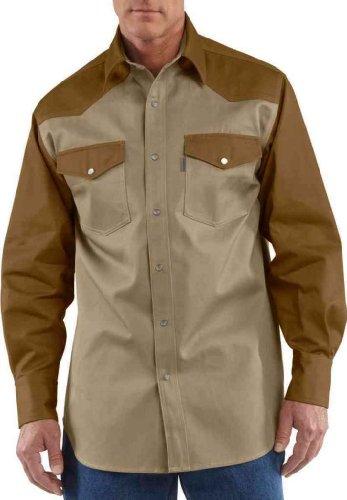 Carhartt Men's Ironwood Twill Work Shirt Snap Front Relaxed Fit,Khaki/Carhartt