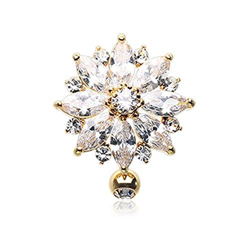 Inspiration Dezigns 14G Golden Radiant Flower Multi-Gem Reverse Belly Button Ring