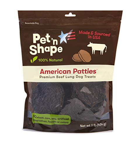 Pet 'n Shape All American Beef Lung Patties Dog Treats - Made and Sourced in The USA, 1lb ()