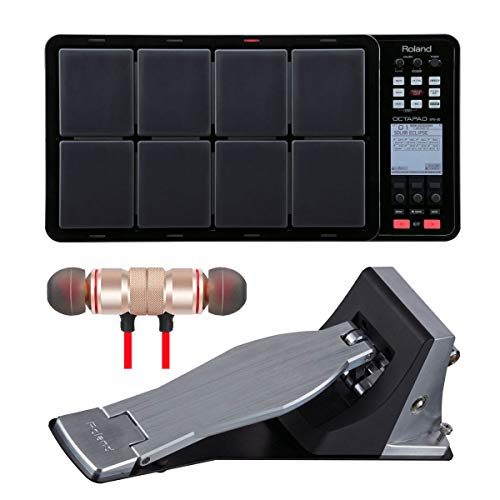 Roland OCTAPAD SPD-30 Digital Percussion Pad Black and KT-10 Kick Trigger Pedal Bundle Includes Free Wireless Earbuds - Stereo Bluetooth In-ear Earphones