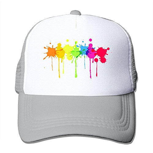 Rainbow Paint Splatter Fashion Baseball Cap For Men and Women Adjustable Mesh Trucker Hat - Paint Splatter Cap