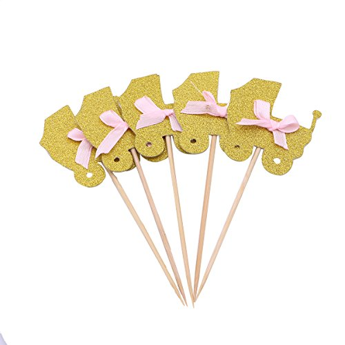 Price comparison product image BESTOYARD 5 Pcs Cake Toppers Stroller Shape Cupcake Toppers for Baby Birthday Party (Gold Car + Pink Knot)