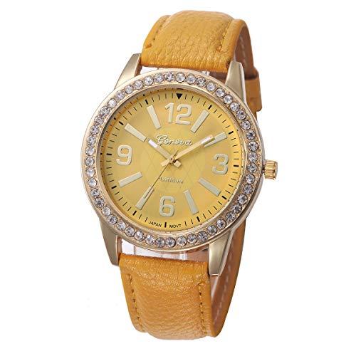 Outsta Women's Geneva Watches Stainless Steel Analog Leather Quartz Wrist Watch Best Gift (Yellow)