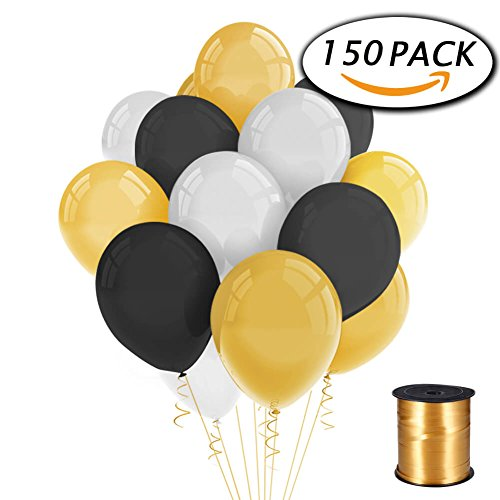 150-pack-12-inches-gold-black-white-latex-balloons-with-curling-ribbon-for-party-decorations-by-paxc