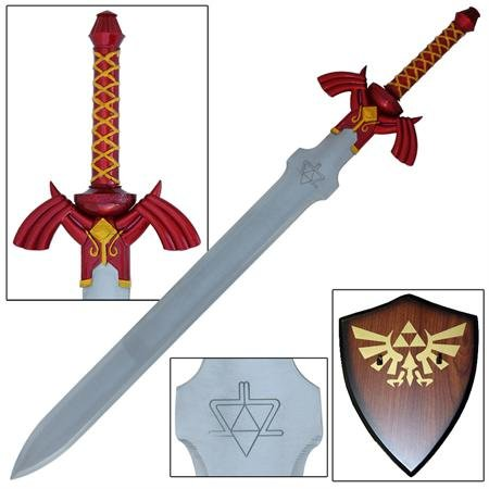 Legend of Zelda Link Twilight Shadow Master Sword Red Version w/ Wood (Plaque Link)