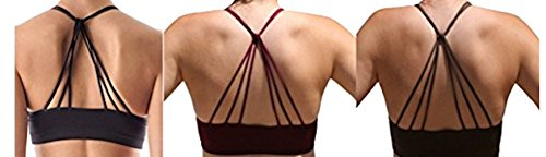 Anemone Women's 3pk Sexy Strappy Cutout Padded Bustier Bralette (O/S, Blk Wine&Brown)