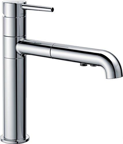 Delta Faucet 4159-DST Signature Single Handle Pull-Out Kitchen Faucet, (Trinsic Chrome Single Handle)