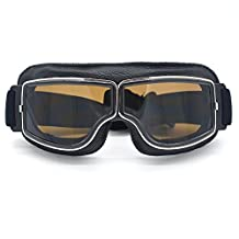Evomosa Leather Motocross Motorcycle ATV Off-Road Eyewear Snowboard Ski Bikes Helmet Goggles Glasses Sunglasses Sports Vintage Aviator Pilot Style Motorcycle Cruiser Scooter Goggle