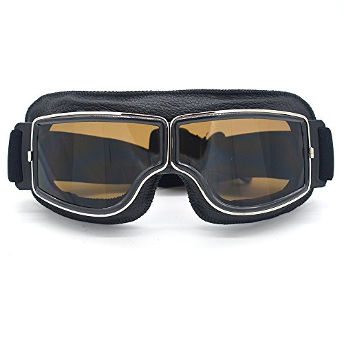 Evomosa Leather Motocross Motorcycle ATV Off-Road Eyewear Snowboard Ski Bikes Helmet Goggles Glasses Sunglasses Sports Vintage Aviator Pilot Style Motorcycle Cruiser Scooter Goggle (Black, Smoke) by Evomosa