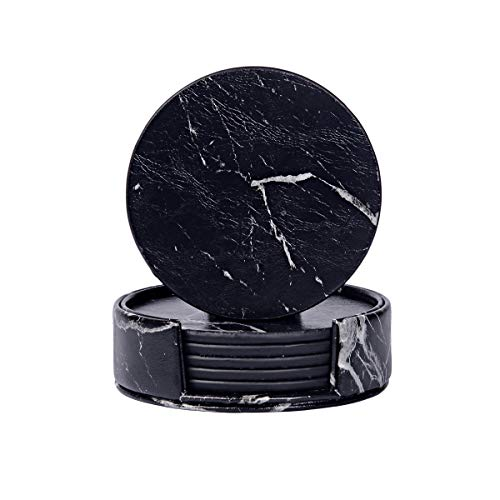 WAYIFON Coasters for Drinks, 6 PCS Upgrade PU Leather Coasters with Holder, Heat Resistant Round Cup Mat Pad - Protect Furniture from Stains and Scratch, Housewarming Marble Black