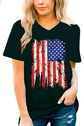 July 4th Retro Style American Flag T-Shirt Ringer Distressed Vintage Tee(1, -