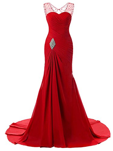 Lily Wedding Womens Mermaid Prom Bridesmaid Dresses 2018 Long Evening Formal Party Ball Gowns FED003 Red Size2