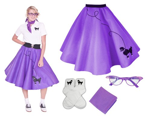 Homemade Halloween Costumes For A Couple - Hip Hop 50s Shop Adult 4 Piece Poodle Skirt Costume Set Purple 3XLarge/4XLarge