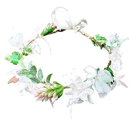 Vivivalue Pearl Flower Crown Floral Garland Headband Flower Halo Headpiece Hair Wreath Boho with Ribbon Wedding Party Photos - Piece Crown