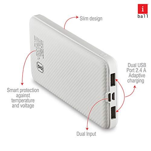 iBall 10000 mAh Powerbank (IB-10000LP), Dual USB Output, White
