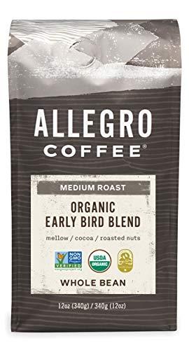 - Allegro Coffee Organic Early Bird Blend Whole Bean Coffee, 12 oz