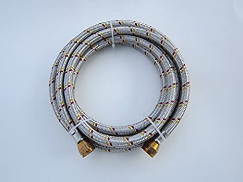 6' STAINLESS STEEL BRAIDED FLEXIBLE HOSE FOR NATURAL/PROPANE GAS 3/8