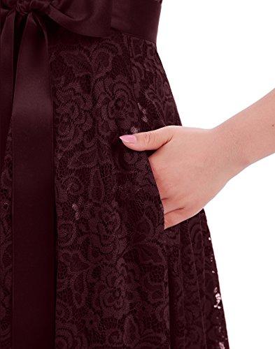 Robe De Demoiselle D'honneur Dentelle Florale Des Femmes Berylove Robe Courte De Cocktail Bal De Bourgogne