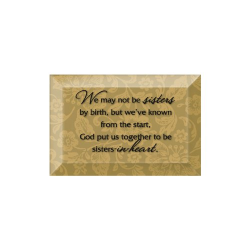 Sisters In Heart Beveled Glass Plaque with Easel