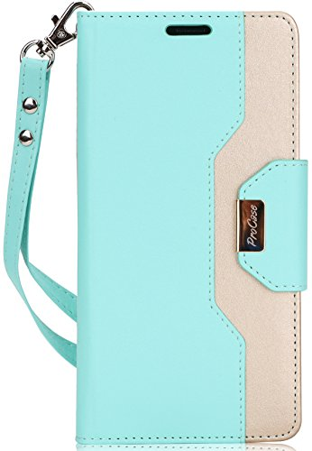 ProCase Galaxy Note 8 Wallet Case, Flip Kickstand Case with Card Slots Mirror Wristlet, Folding Stand Protective Cover for Samsung Galaxy Note 8 2017 -MintGreen
